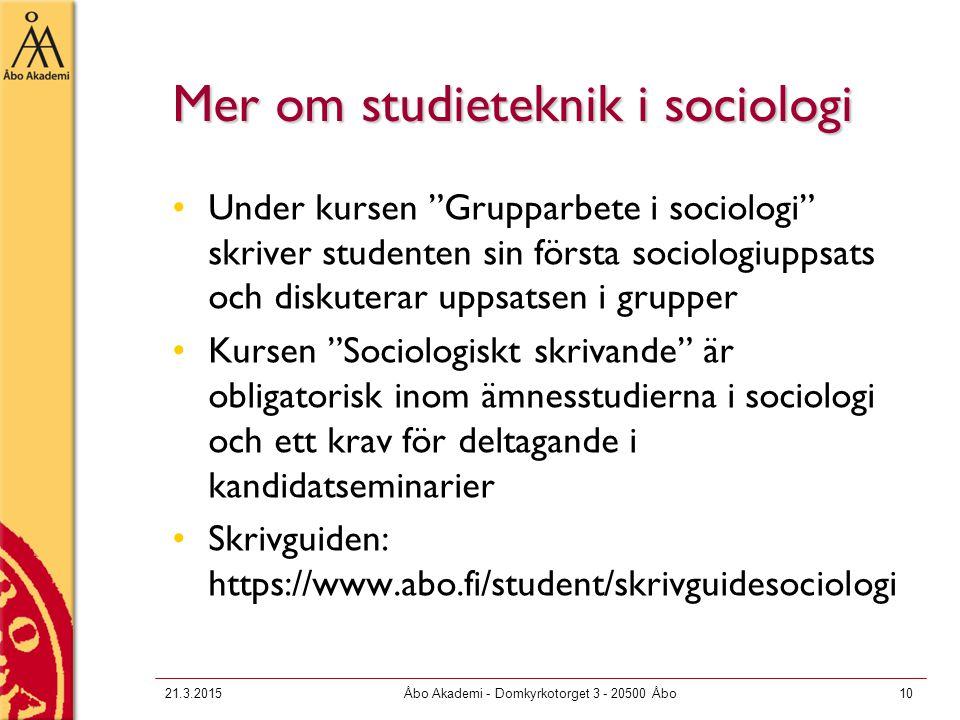 Mer om studieteknik i sociologi