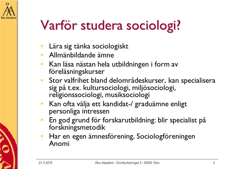 Varför studera sociologi