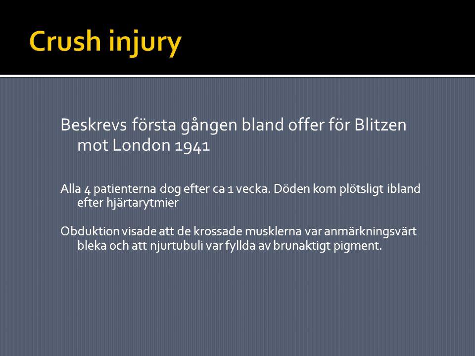 Crush injury Beskrevs första gången bland offer för Blitzen mot London 1941.