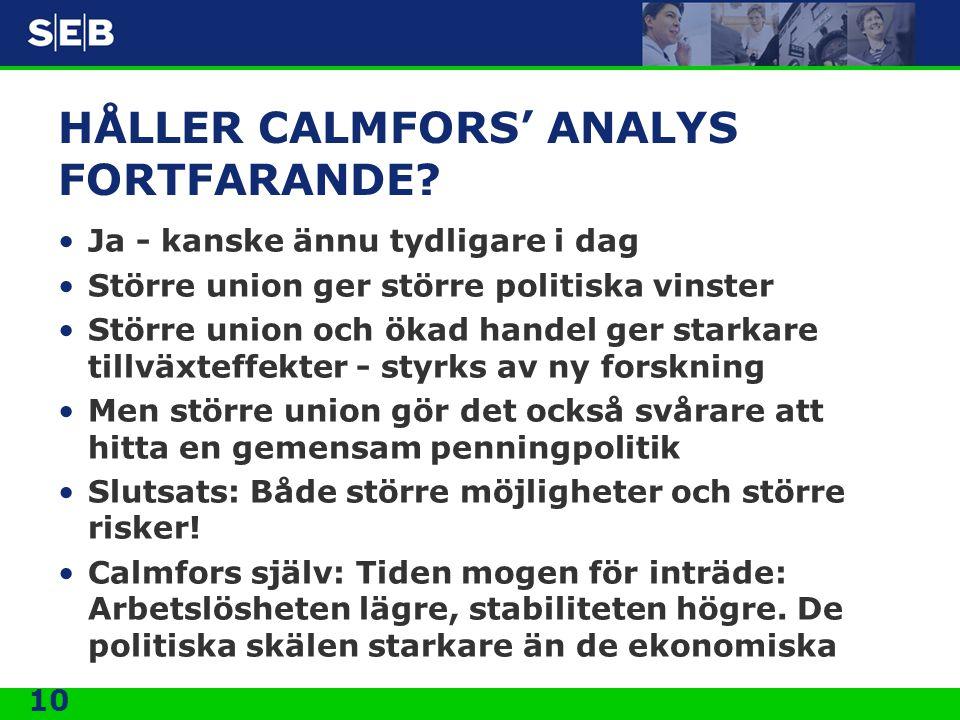 HÅLLER CALMFORS' ANALYS FORTFARANDE