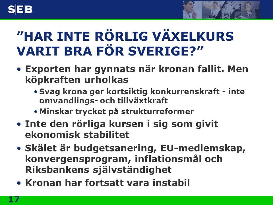 HAR INTE RÖRLIG VÄXELKURS VARIT BRA FÖR SVERIGE