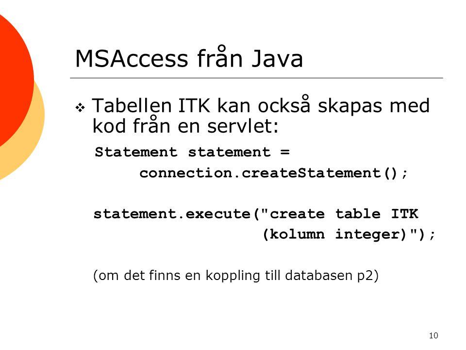 MSAccess från Java Tabellen ITK kan också skapas med kod från en servlet: Statement statement = connection.createStatement();