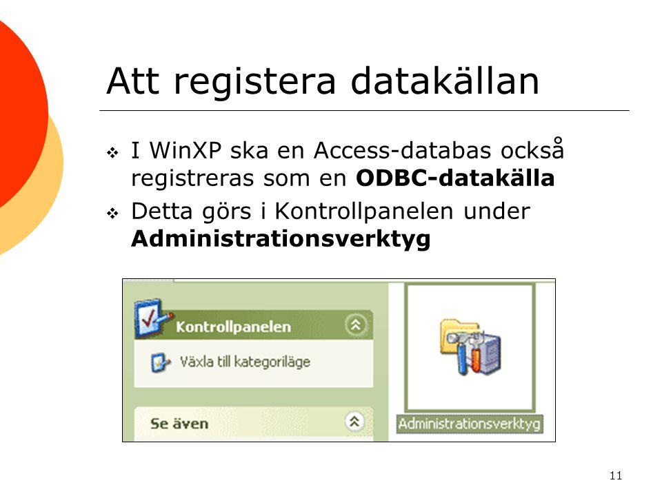 Att registera datakällan