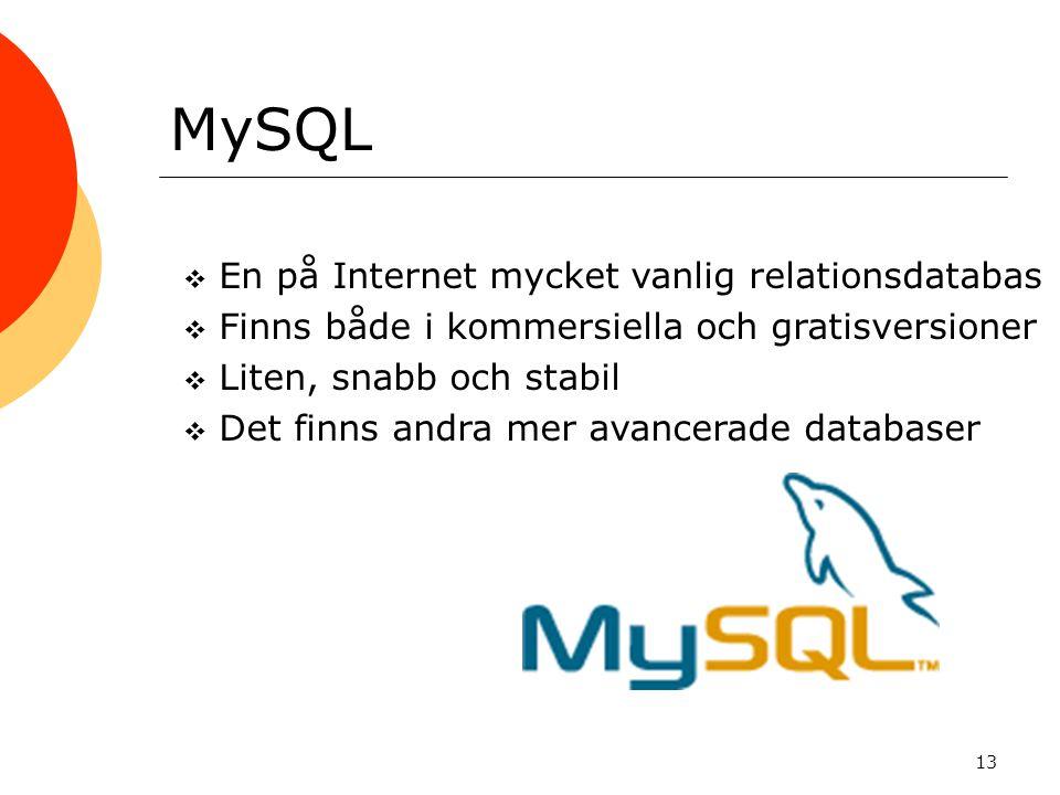 MySQL En på Internet mycket vanlig relationsdatabas