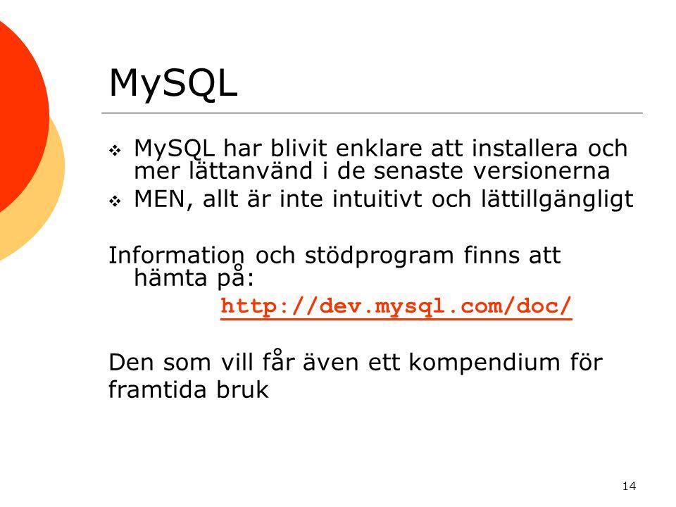 MySQL MySQL har blivit enklare att installera och mer lättanvänd i de senaste versionerna. MEN, allt är inte intuitivt och lättillgängligt.