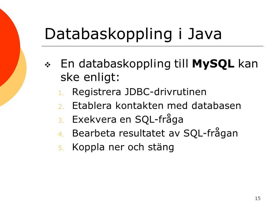 Databaskoppling i Java