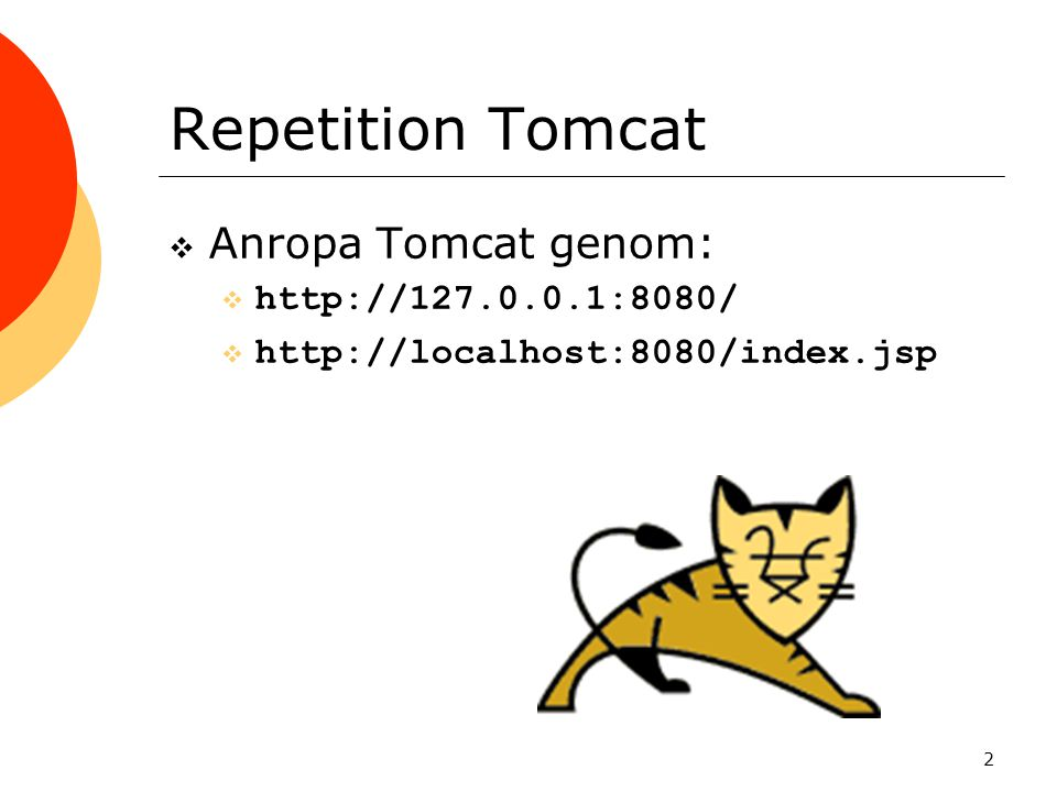 Repetition Tomcat Anropa Tomcat genom: http://127.0.0.1:8080/