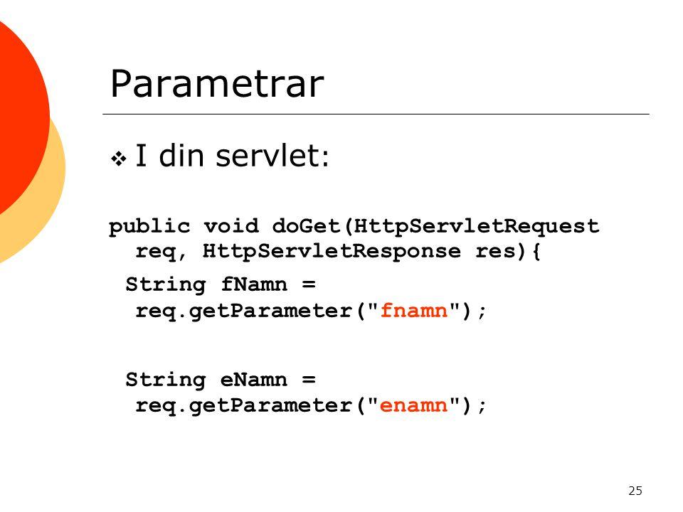 Parametrar I din servlet: String fNamn = req.getParameter( fnamn );