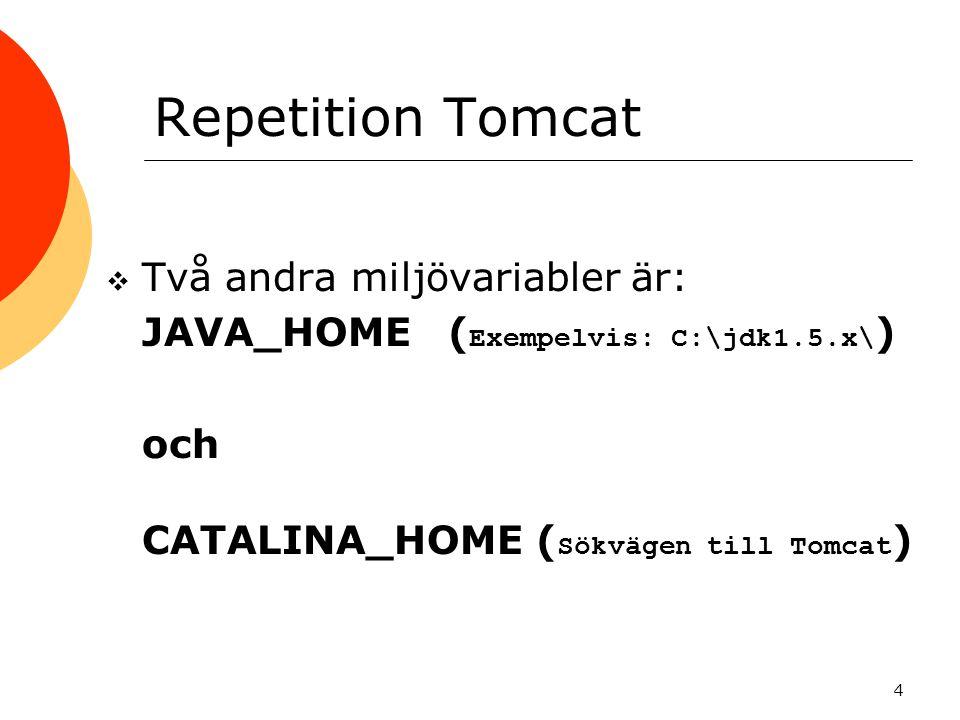 Repetition Tomcat Två andra miljövariabler är: