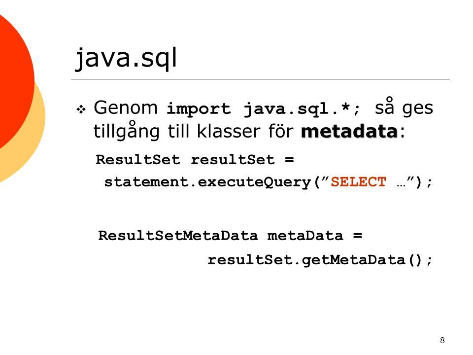 java.sql ResultSet resultSet = ResultSetMetaData metaData =