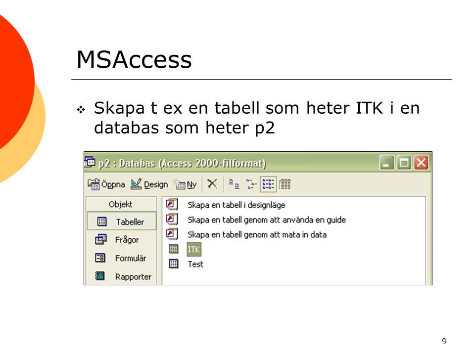 MSAccess Skapa t ex en tabell som heter ITK i en databas som heter p2