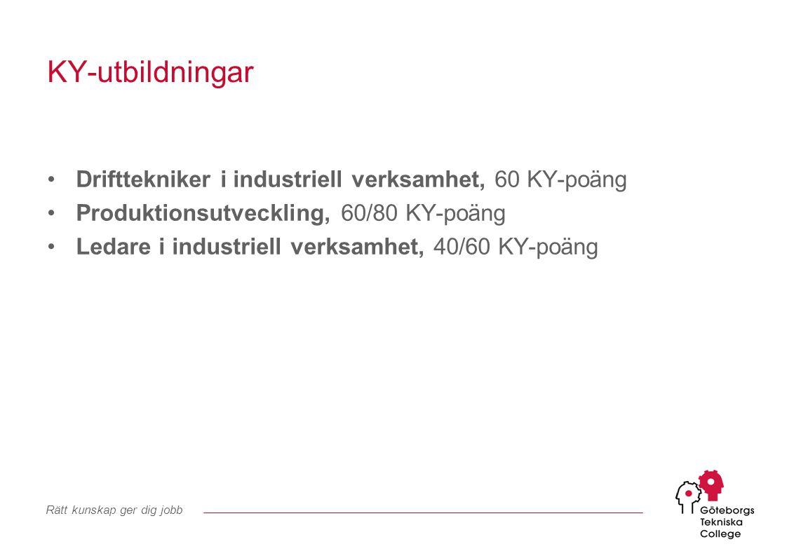 KY-utbildningar Drifttekniker i industriell verksamhet, 60 KY-poäng