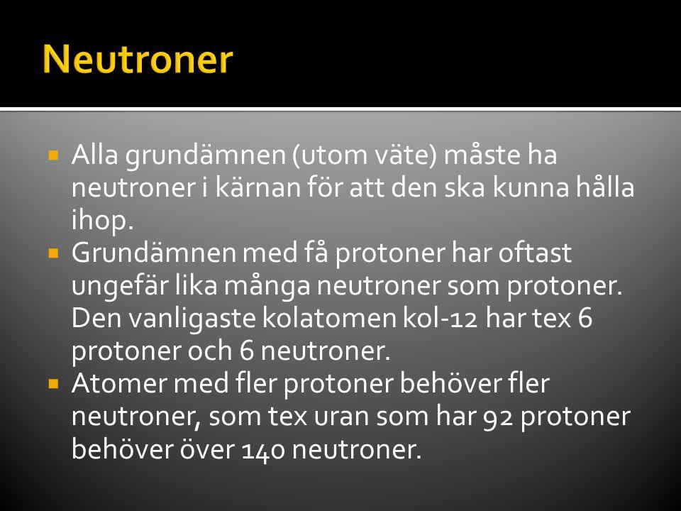 Neutroner Alla grundämnen (utom väte) måste ha neutroner i kärnan för att den ska kunna hålla ihop.