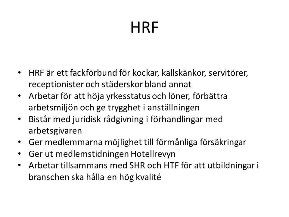 HRF HRF är ett fackförbund för kockar, kallskänkor, servitörer, receptionister och städerskor bland annat.