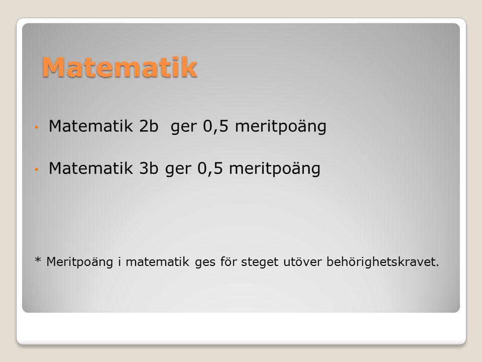 Matematik Matematik 2b ger 0,5 meritpoäng