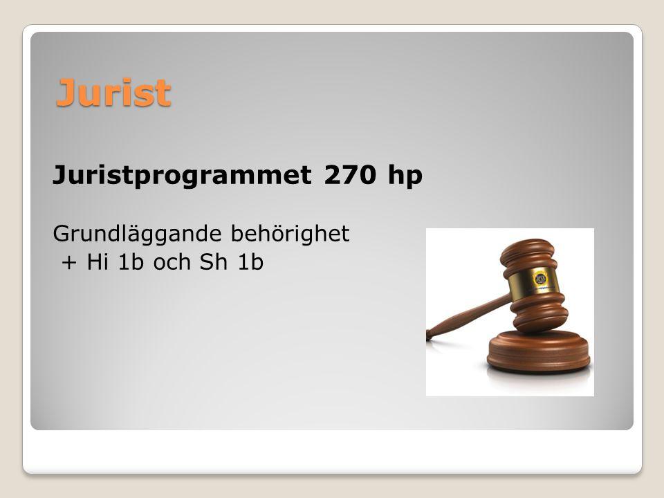 Jurist Juristprogrammet 270 hp Grundläggande behörighet