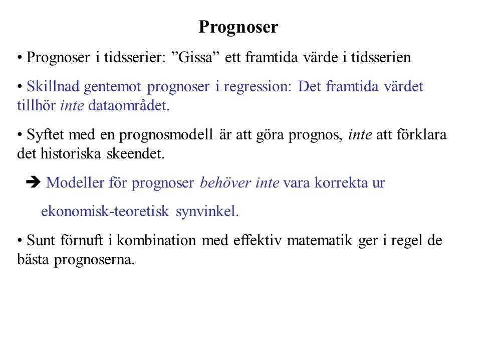 Prognoser Prognoser i tidsserier: Gissa ett framtida värde i tidsserien.