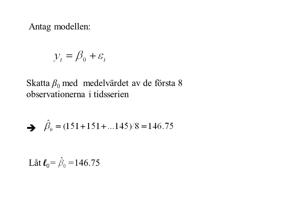 Antag modellen: Skatta β0 med medelvärdet av de första 8 observationerna i tidsserien.