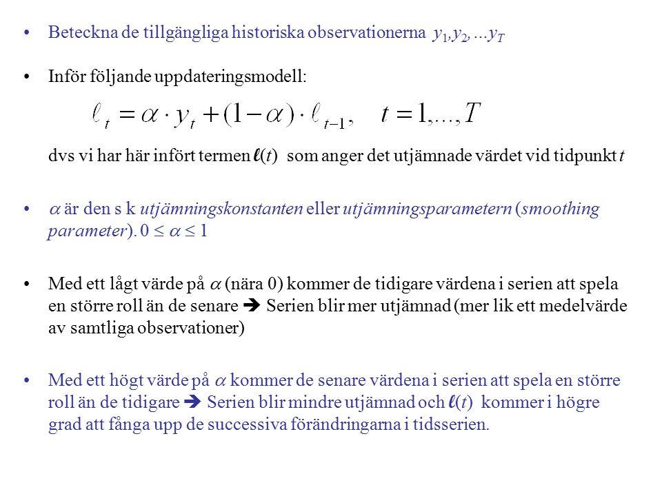 Beteckna de tillgängliga historiska observationerna y1,y2,…yT