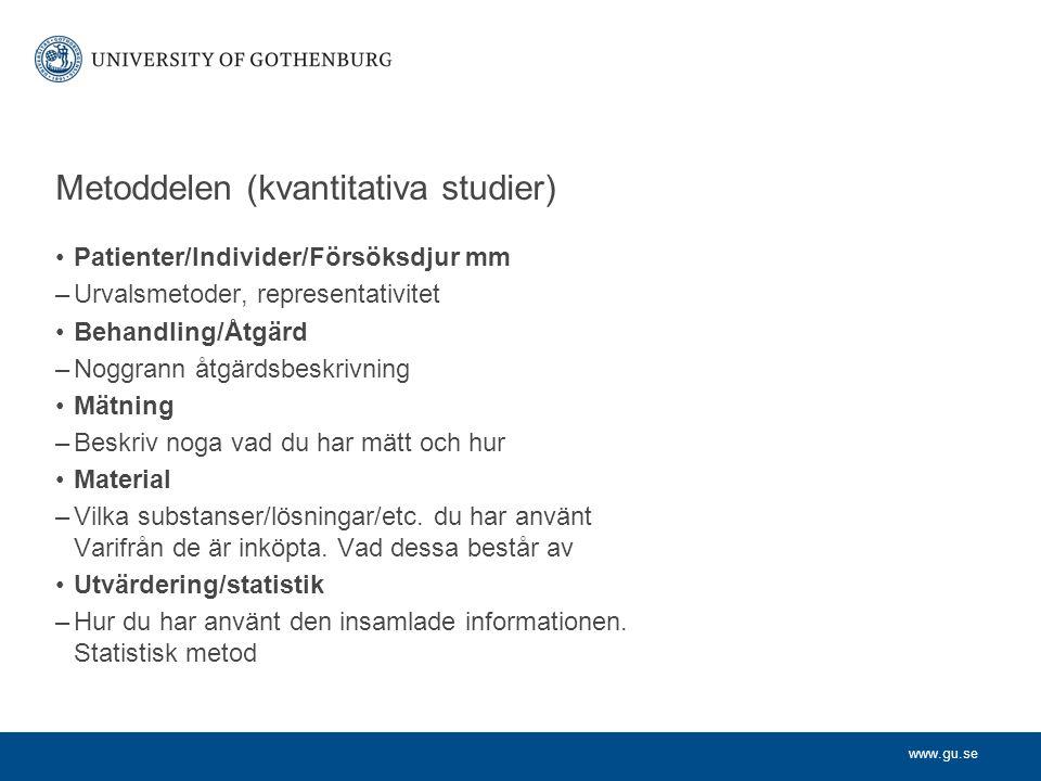 Metoddelen (kvantitativa studier)
