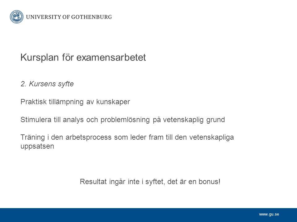 Kursplan för examensarbetet