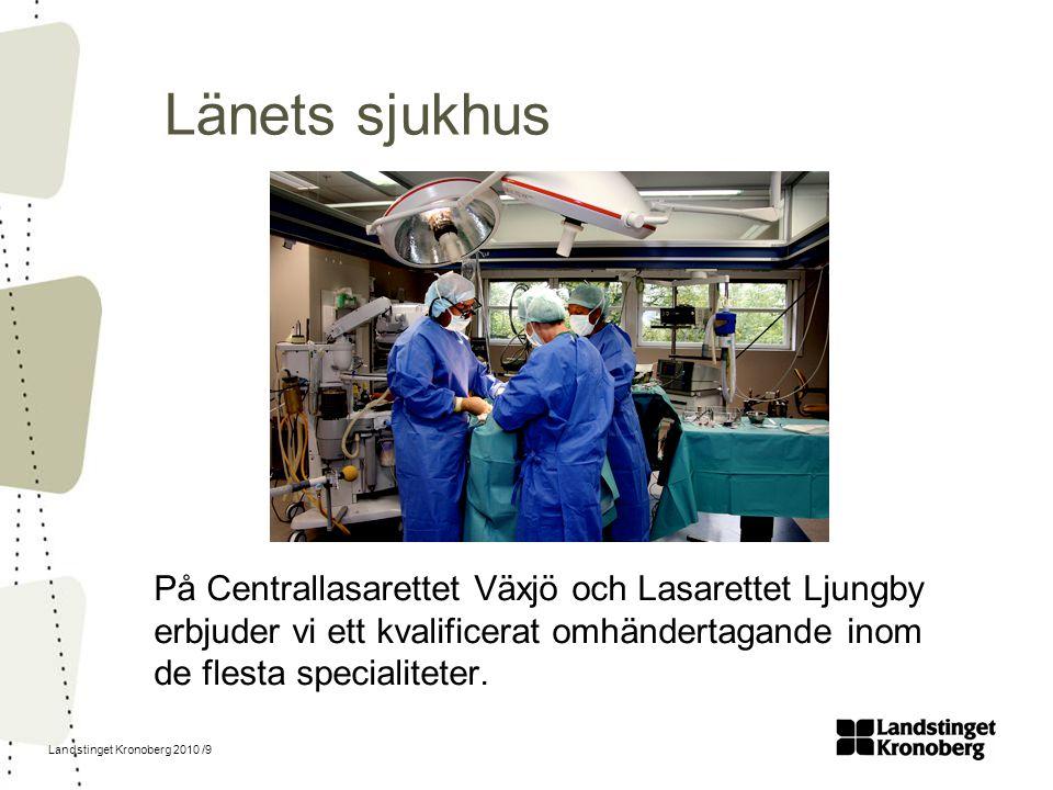 Länets sjukhus På Centrallasarettet Växjö och Lasarettet Ljungby erbjuder vi ett kvalificerat omhändertagande inom de flesta specialiteter.