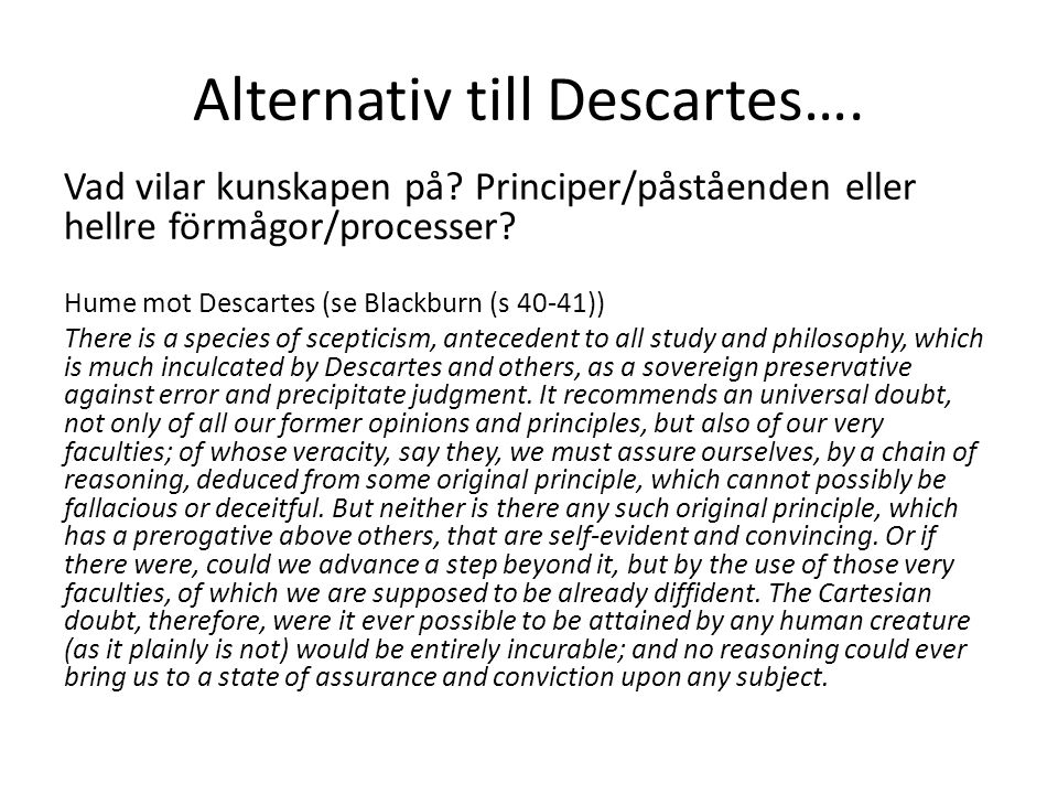 Alternativ till Descartes….