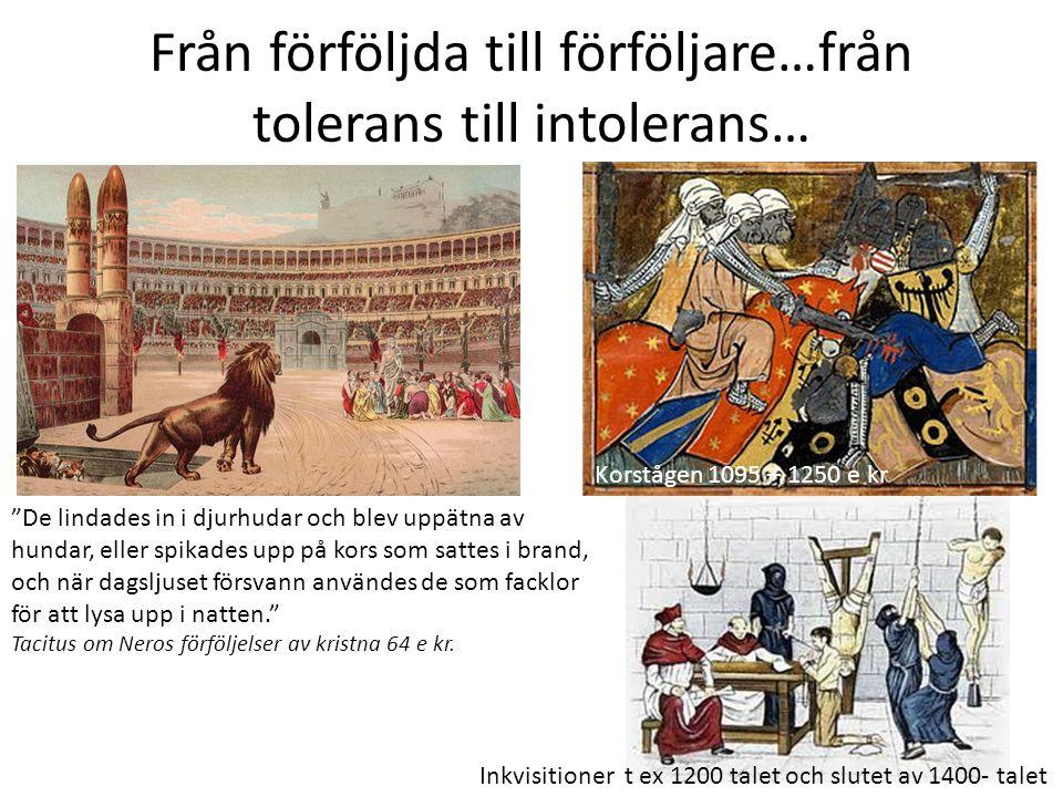 Från förföljda till förföljare…från tolerans till intolerans…