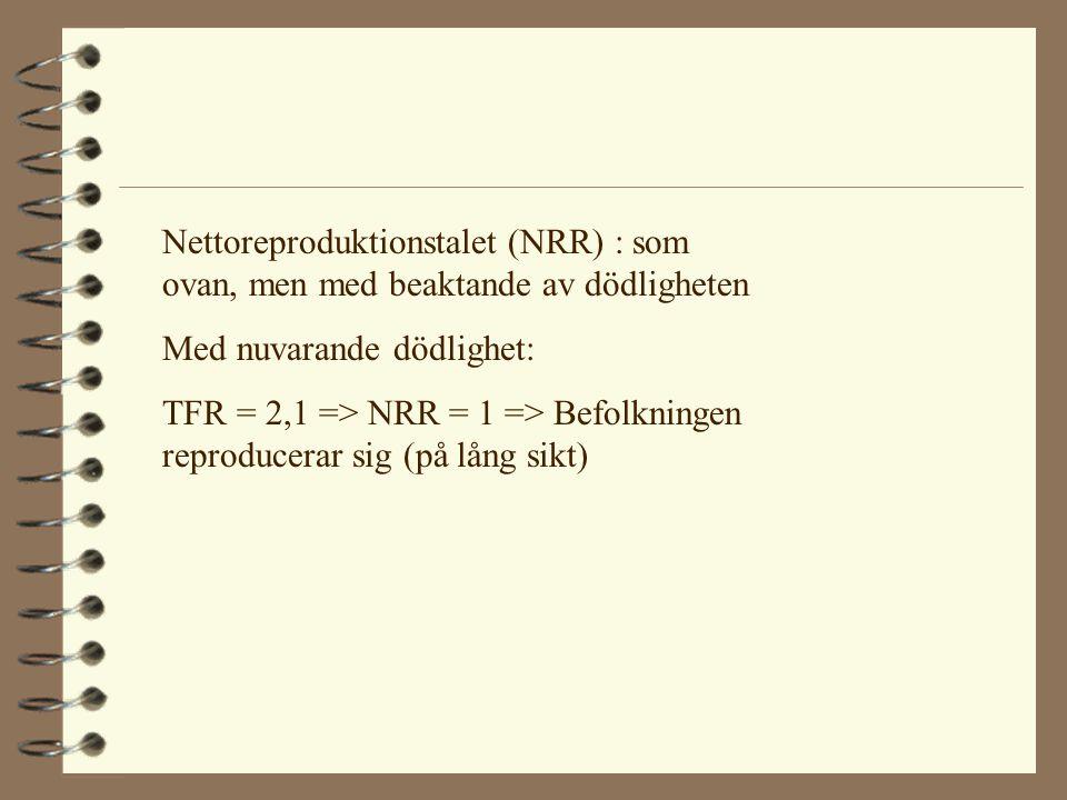Nettoreproduktionstalet (NRR) : som ovan, men med beaktande av dödligheten