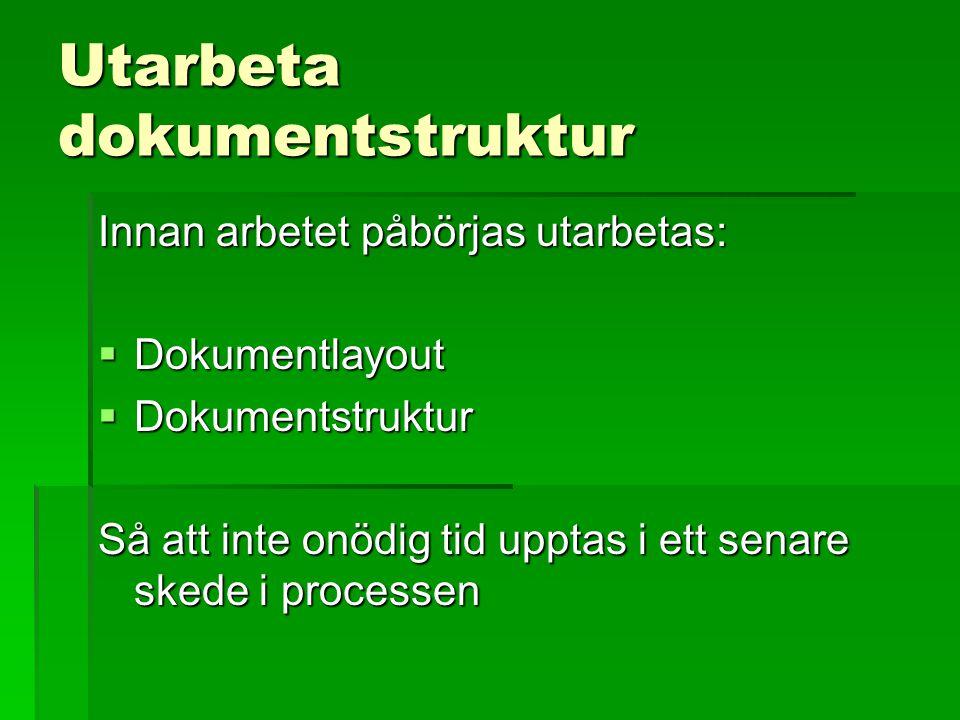 Utarbeta dokumentstruktur