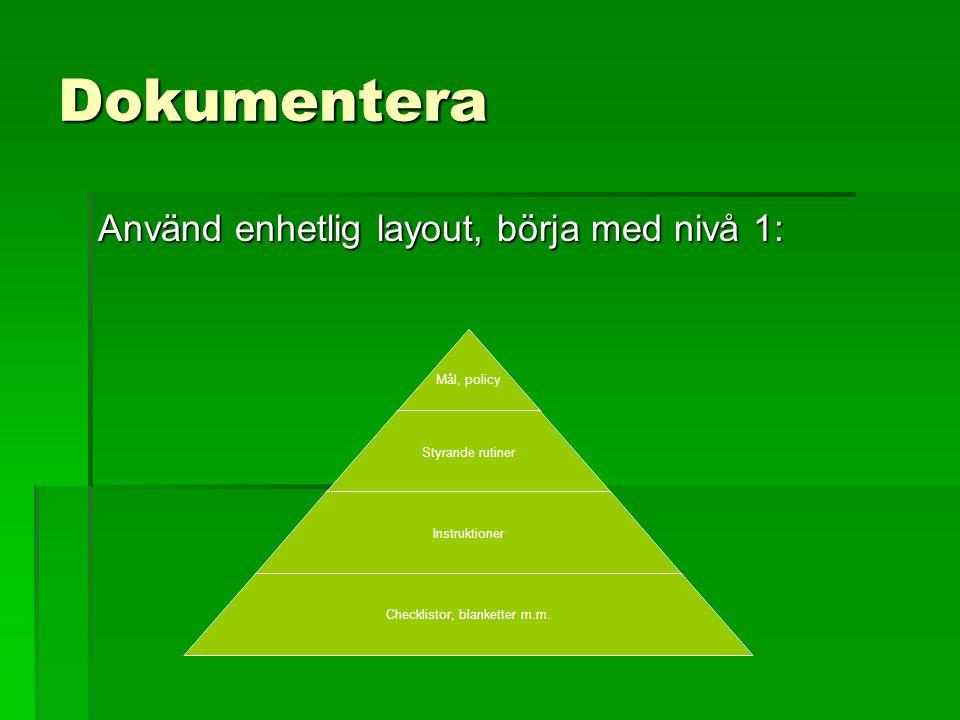 Dokumentera Använd enhetlig layout, börja med nivå 1: