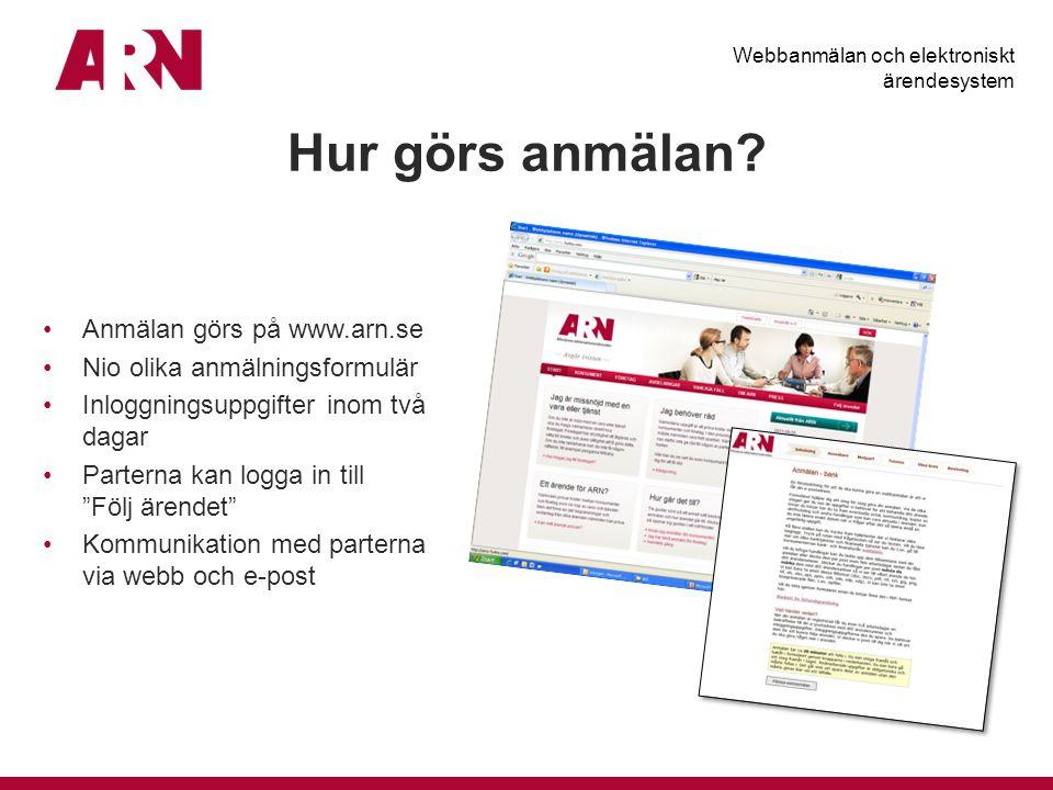 Hur görs anmälan Anmälan görs på www.arn.se