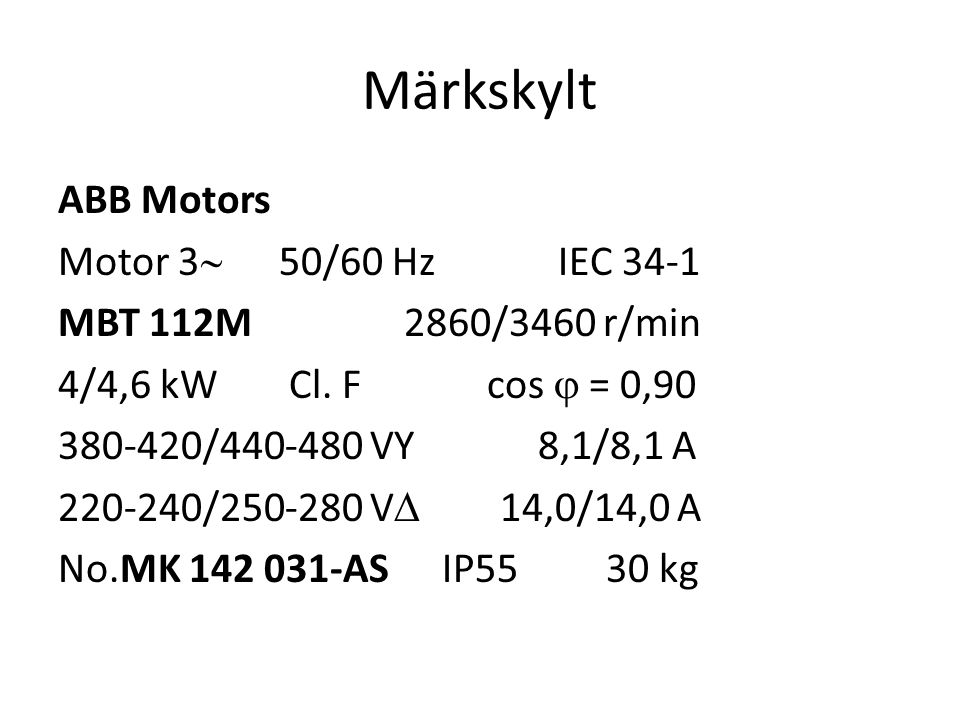 Märkskylt ABB Motors Motor 3 50/60 Hz IEC 34-1