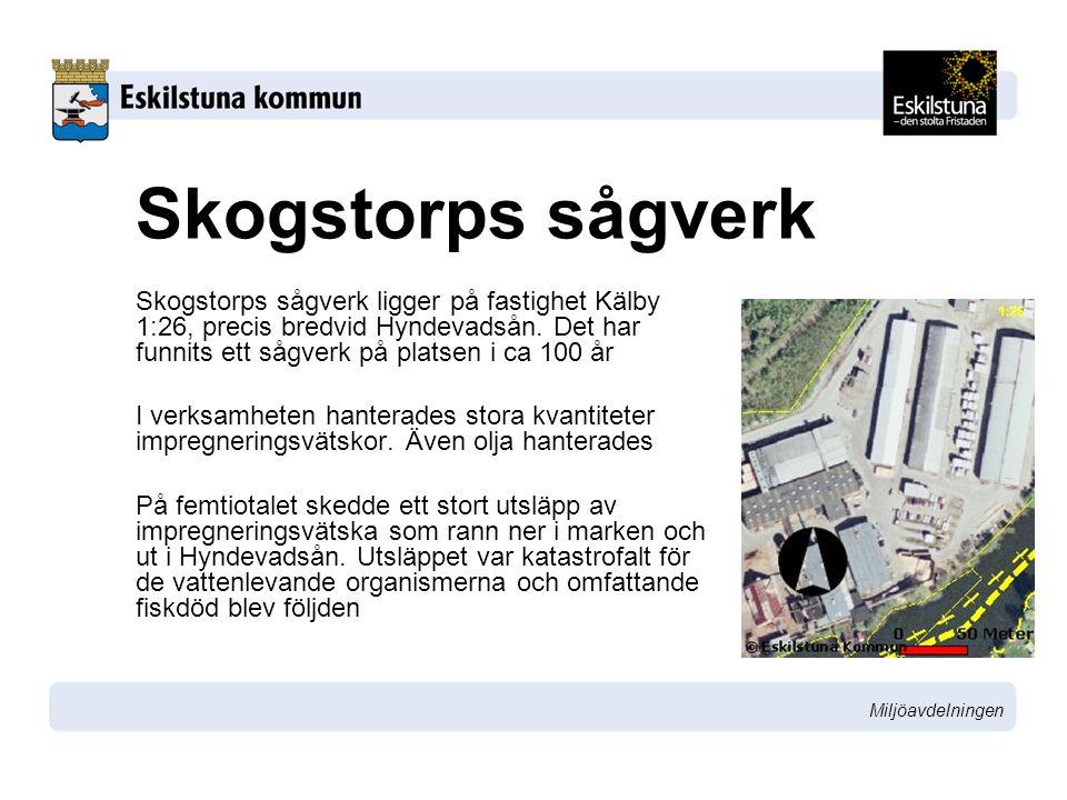 Skogstorps sågverk Skogstorps sågverk ligger på fastighet Kälby 1:26, precis bredvid Hyndevadsån. Det har funnits ett sågverk på platsen i ca 100 år.