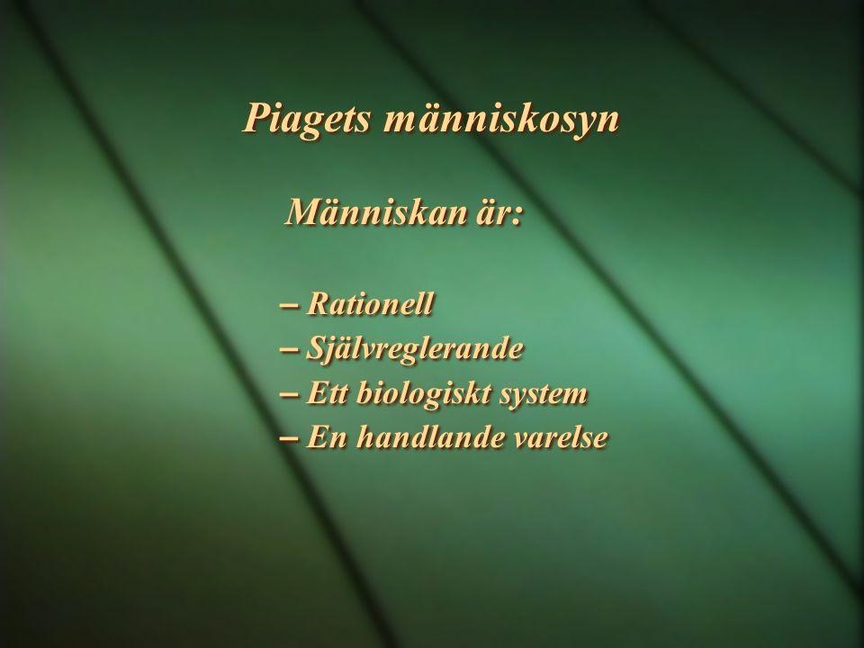 Piagets människosyn Människan är: – Rationell – Självreglerande