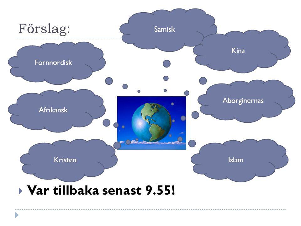 Förslag: Var tillbaka senast 9.55! Samisk Kina Fornnordisk