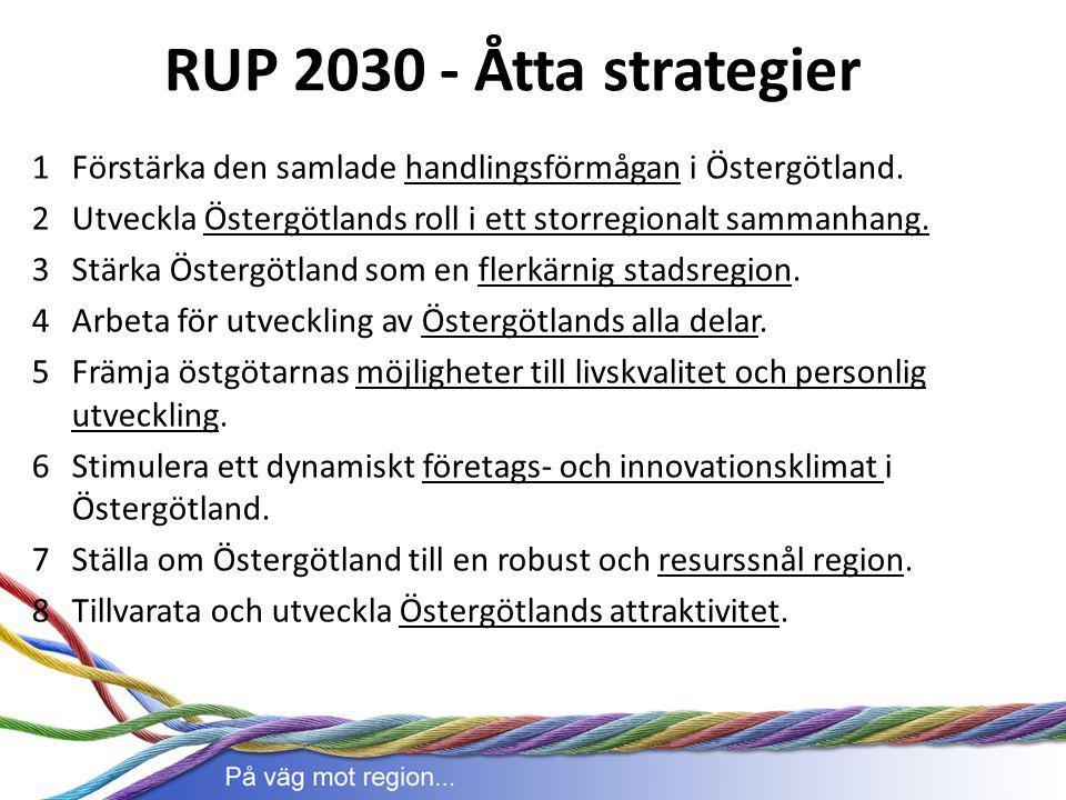 RUP 2030 - Åtta strategier Förstärka den samlade handlingsförmågan i Östergötland. Utveckla Östergötlands roll i ett storregionalt sammanhang.