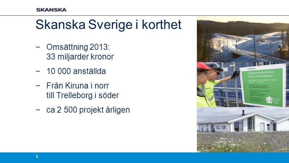 Skanska Sverige i korthet
