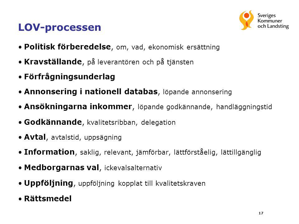 LOV-processen Politisk förberedelse, om, vad, ekonomisk ersättning