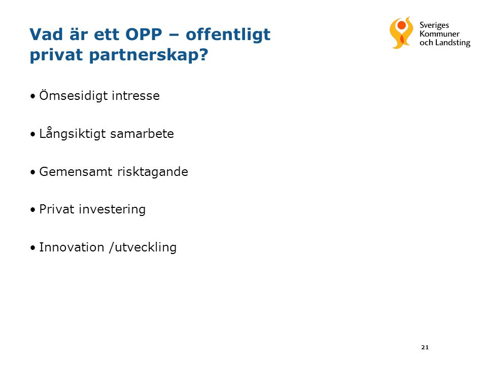 Vad är ett OPP – offentligt privat partnerskap