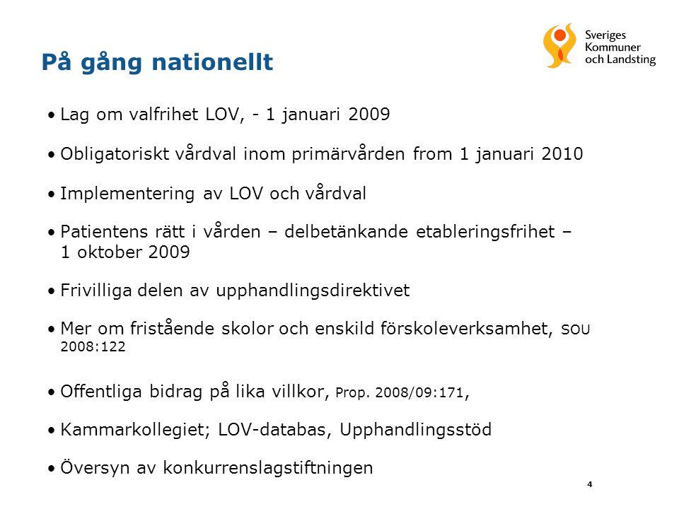 På gång nationellt Lag om valfrihet LOV, - 1 januari 2009