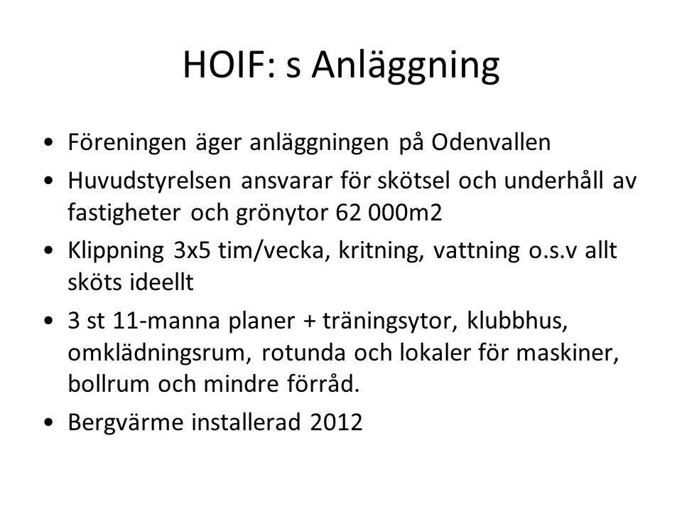 HOIF: s Anläggning Föreningen äger anläggningen på Odenvallen