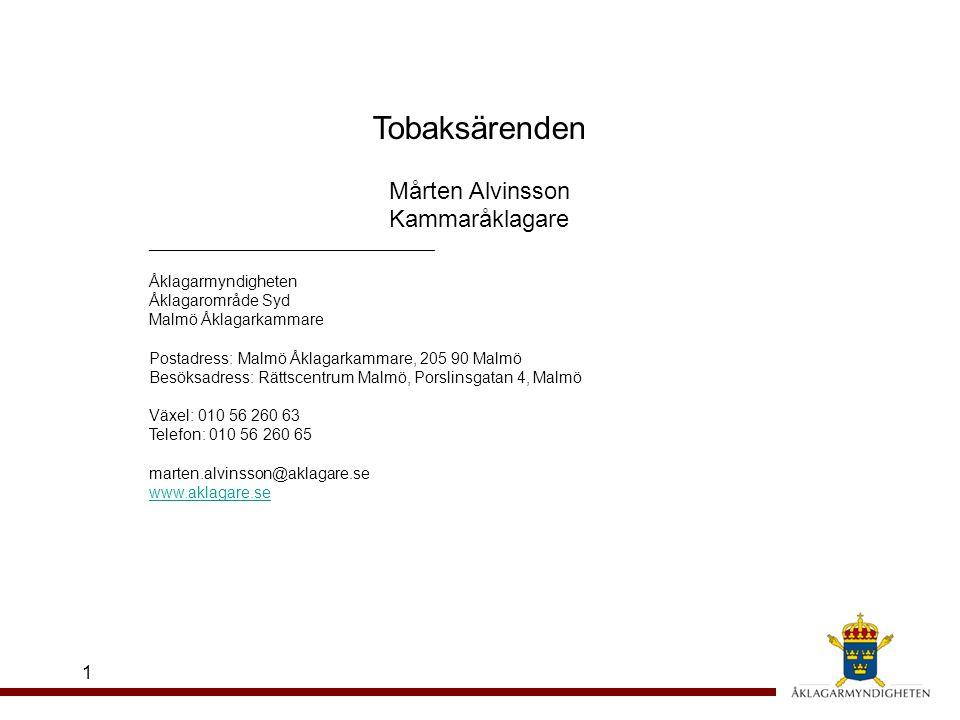Tobaksärenden Mårten Alvinsson Kammaråklagare