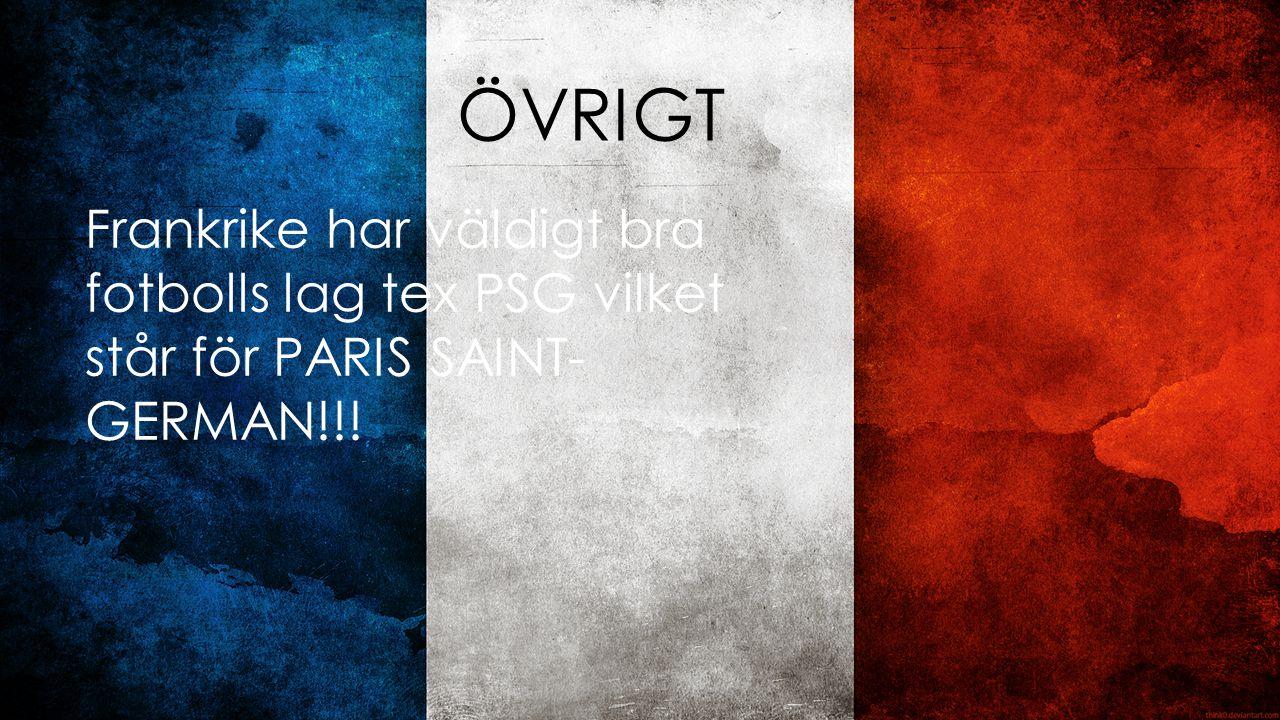 ÖVRIGT Frankrike har väldigt bra fotbolls lag tex PSG vilket står för PARIS SAINT-GERMAN!!!