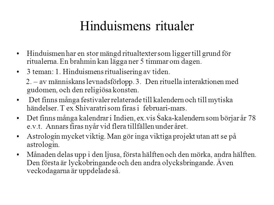 Hinduismens ritualer Hinduismen har en stor mängd ritualtexter som ligger till grund för ritualerna. En brahmin kan lägga ner 5 timmar om dagen.