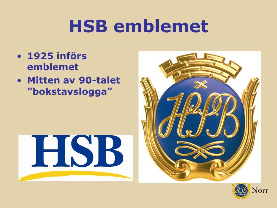 HSB emblemet 1925 införs emblemet Mitten av 90-talet bokstavslogga