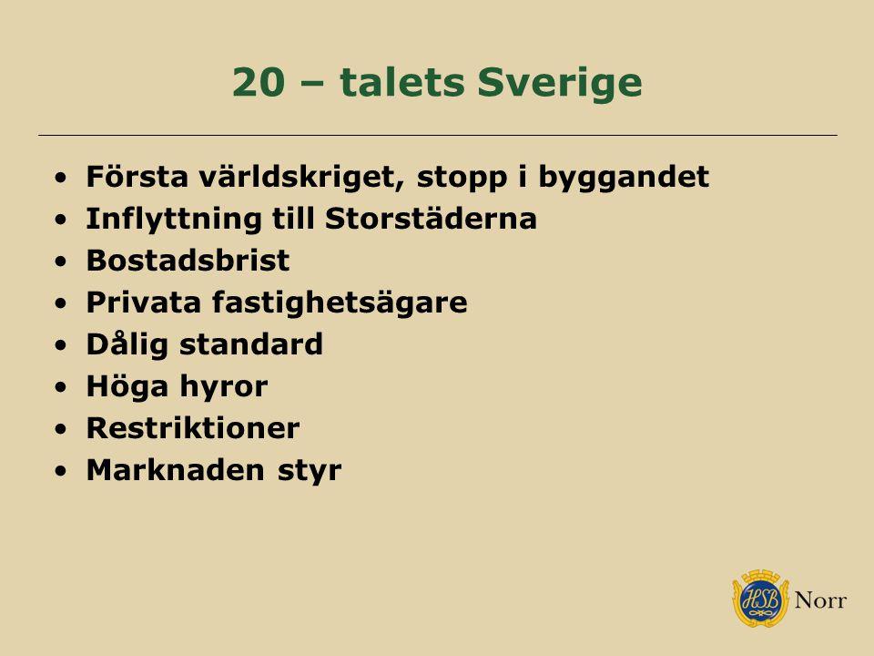 20 – talets Sverige Första världskriget, stopp i byggandet