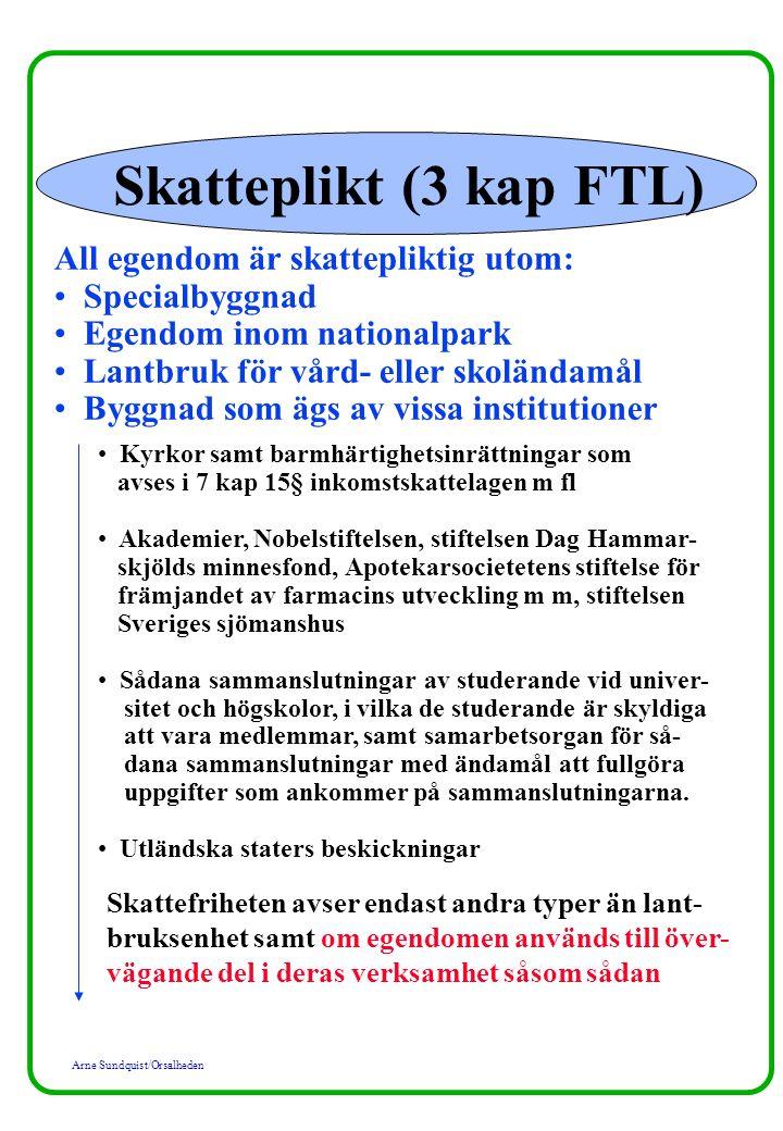 Skatteplikt (3 kap FTL) All egendom är skattepliktig utom: