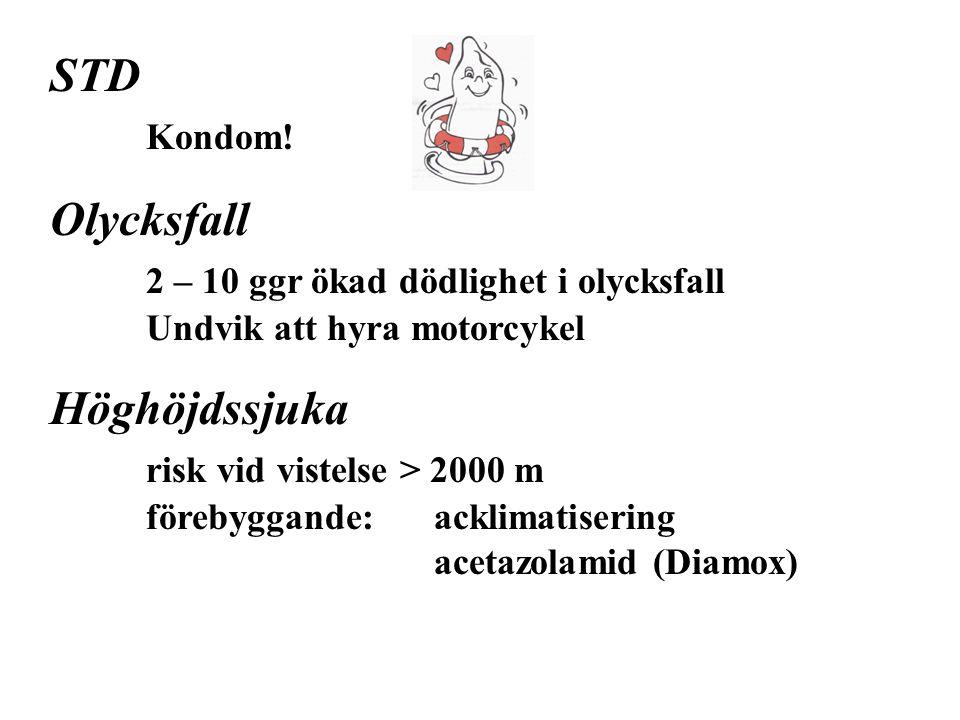 STD Kondom! Olycksfall 2 – 10 ggr ökad dödlighet i olycksfall Undvik att hyra motorcykel.