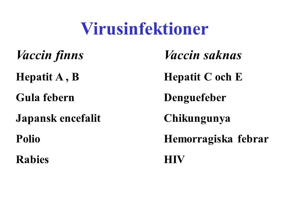 Virusinfektioner Vaccin finns Vaccin saknas